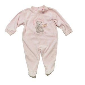 Absorba Light Pink Velour Footed PJ's